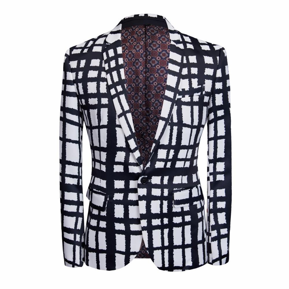 CarFFiv new 2019 lounge suit black and white checkered dress party dress holiday business coat