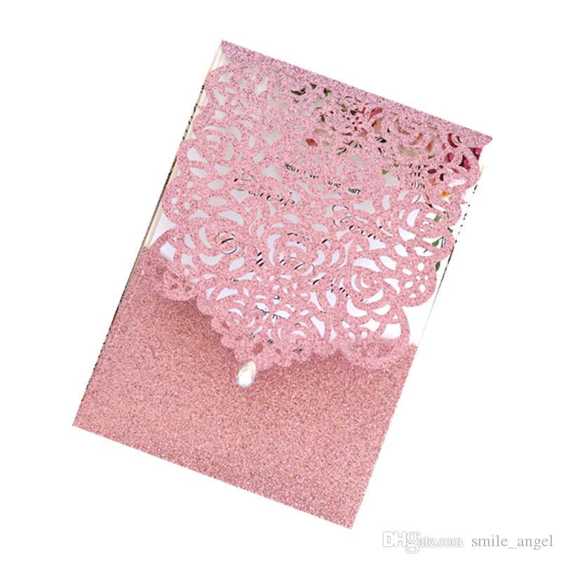 بريق الوردي الليزر قطع بطاقات دعوة مع قطرة الماء حجر الراين لحفل زفاف العرسان المشاركة عيد الميلاد الساخن بيع