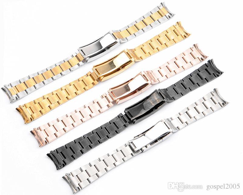 EVANGELIO SIN LOGOTIPO correa de acero inoxidable tres cuentas combinación de buceo hebilla de seguro reloj sólido con 20 21m acero inoxidable str