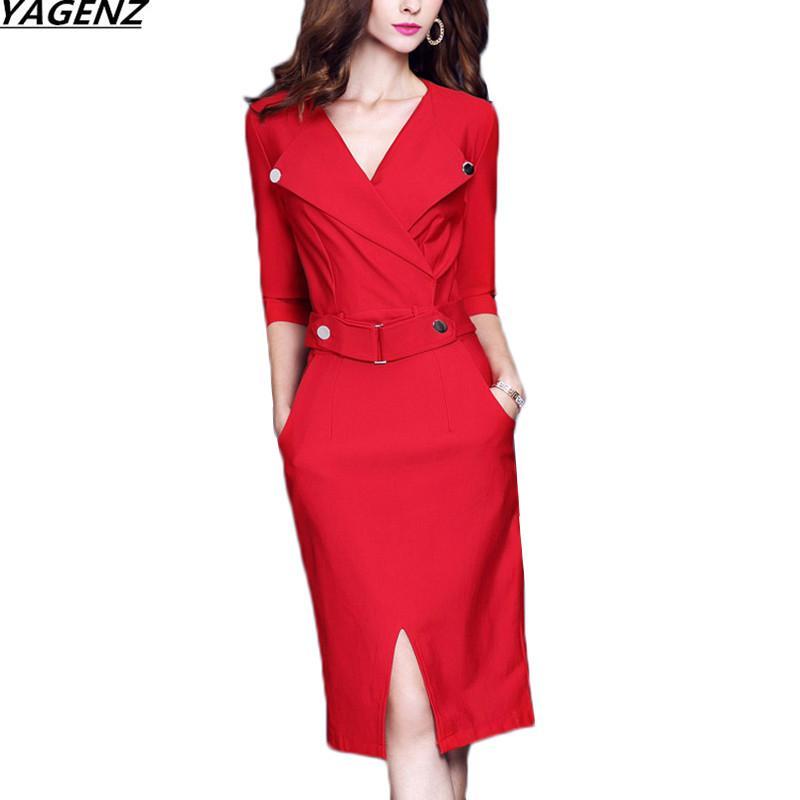 Vestido Mulheres 2017Autumn Moda de cinco pontos-mangas Sexy V Collar escritório Vestido Tamanho Grande temperamento feminino YAGENZ K531