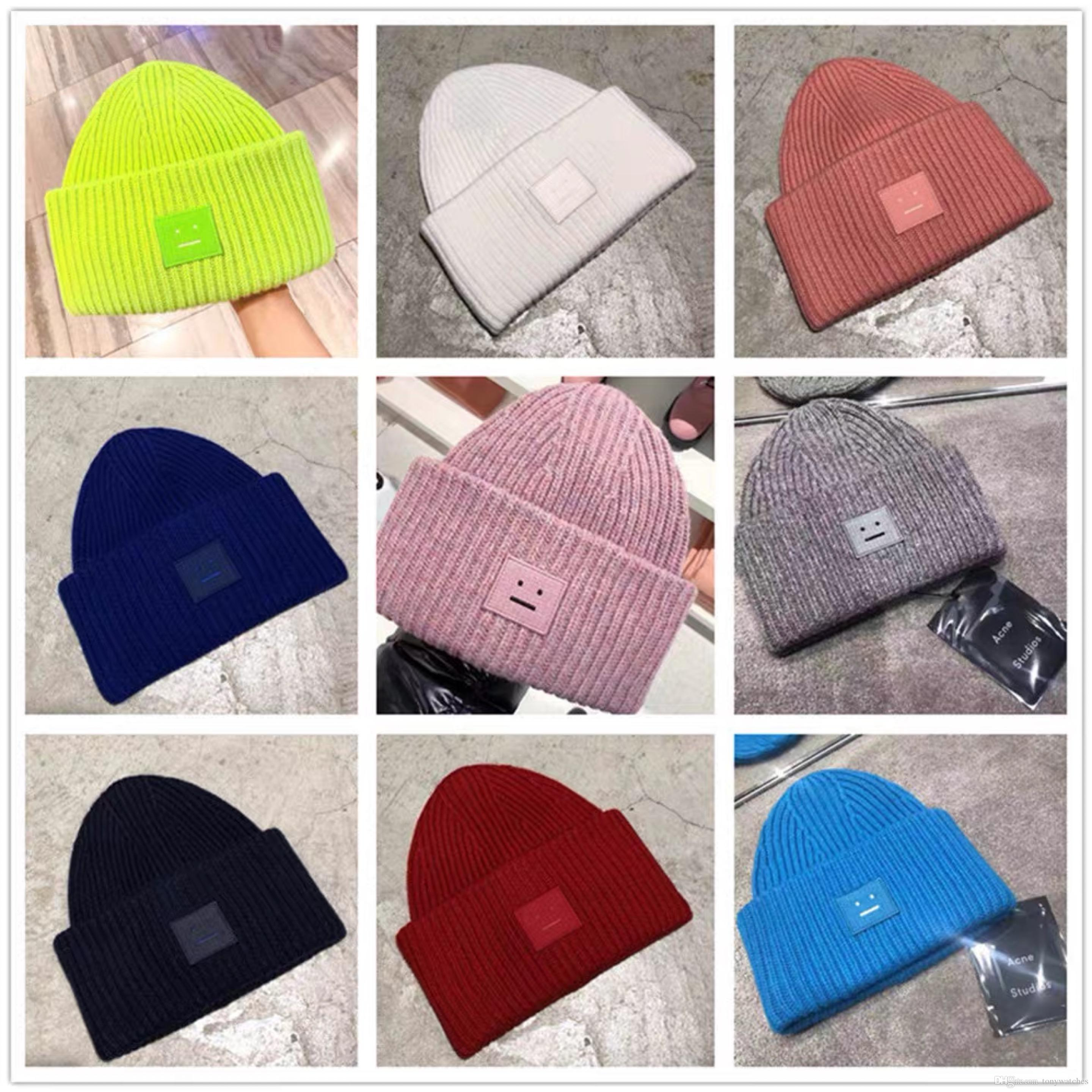 Acne Studios Smiling face Beanie Skull Caps knitted Cashmere Eye Warm Couple Lovers Acne Hats Tide Street Hip-hop Wool Cap Adult Children So
