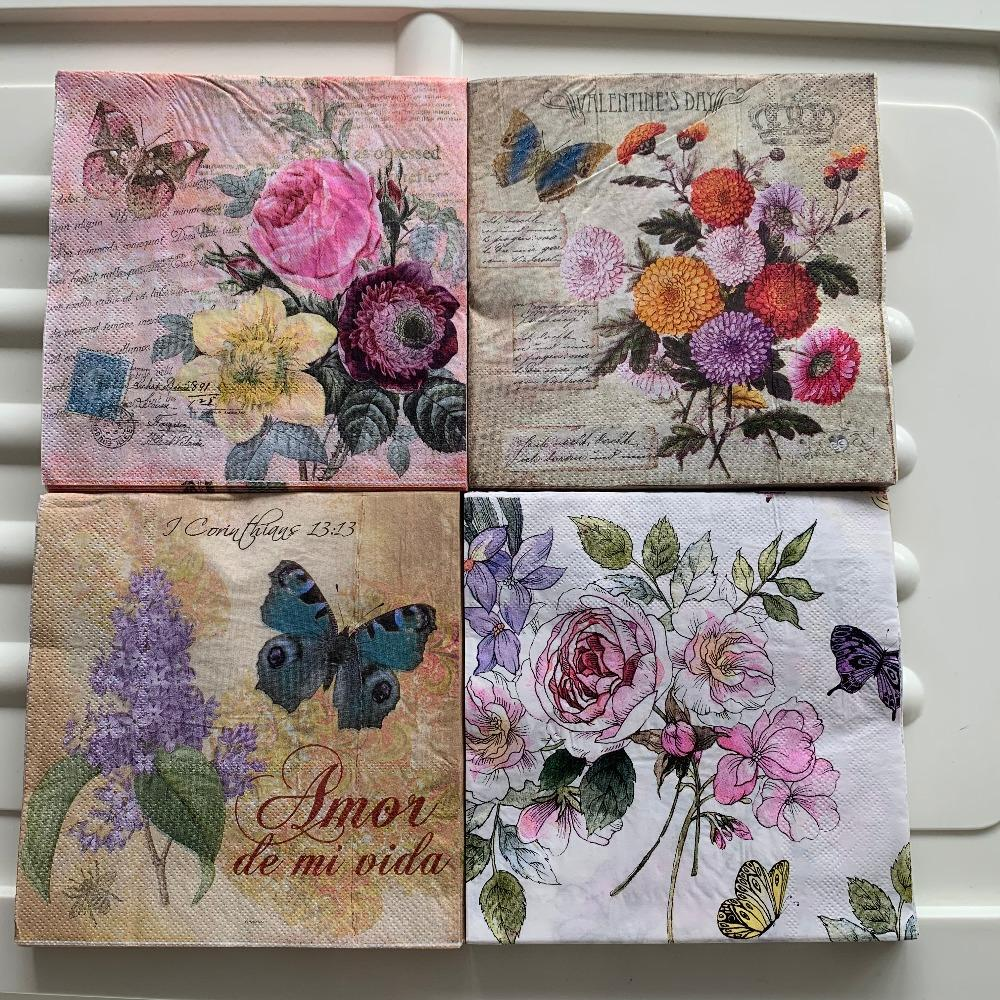 213 Beautiful flowers and butterflies  design 4 single paper decoupage napkins