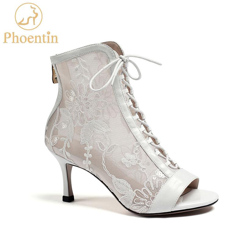 Phoentin mesh summer boots women zipper flower print peep toe sandal booties cross tie leather patchwork sexy shoes white FT869