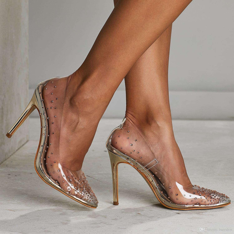 Rhinestone Mulheres PVC Limpar Transparente Bombas Perspex Heel Stilettos Salto Alto Ponto Toes Sapatos Ladies Party Dress Shoes