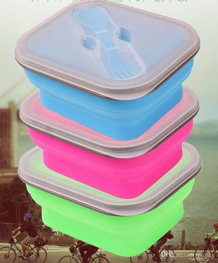600ML Outdoor Portable Fold Lunch Boxs Silicon Microwave Dinnerware Lunchbox Bowls Container Baby Kids Box Dishes