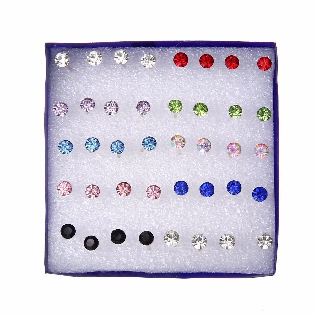 20쌍는 설정 / 다채로운 크리스탈 스터드 귀걸이 세트에 대한 여성의 보석 모조 다이아몬드 피어싱 귀걸이 팩 로트 brincos을 키트