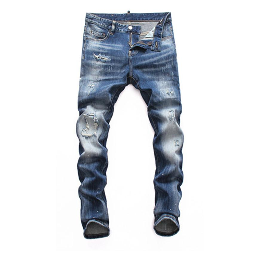El nuevo diseñador de moda de otoño Jeans Hombres con agujeros rotos de diseño Cremalleras Jeansmens arrancó hop pantalones pantalones flacos cadera