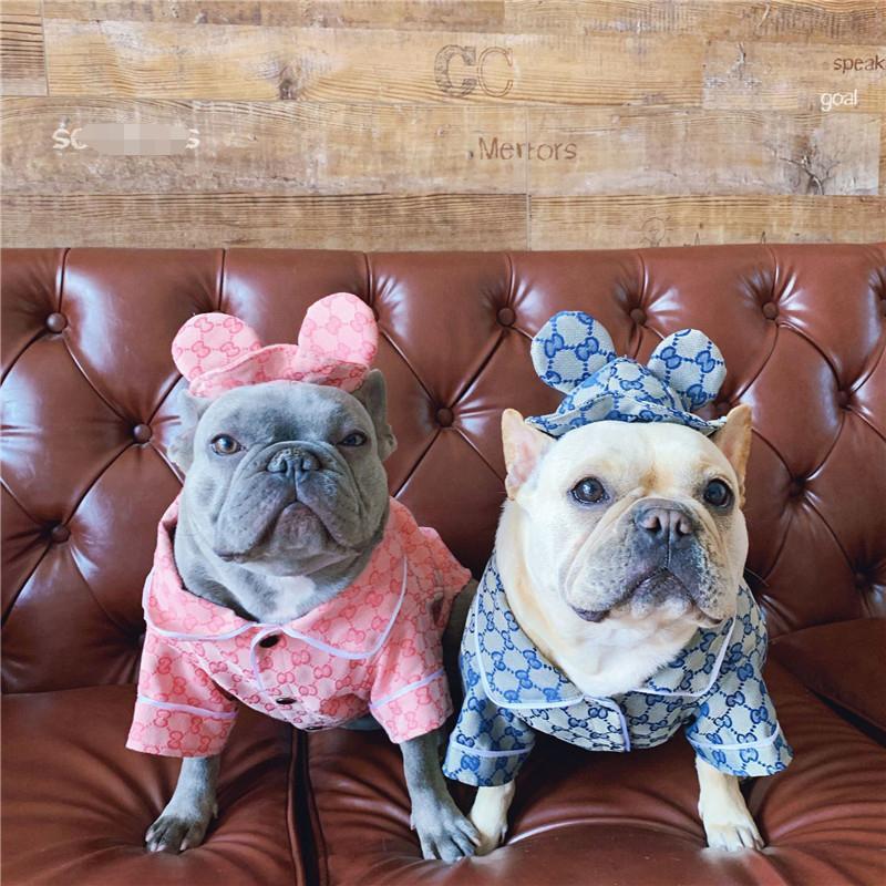 Verão moda Animais Camisas INS Moda Carta Bulldog Impresso T-shirt 2 cores Adorável Teddy Bichon Coats