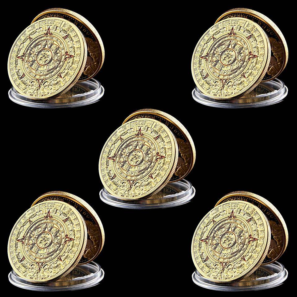 5pcs Commemorative Coin Craft Mexican Ancient Maya Aztec Predistitudine Calendario Cultura Badge Token Badge