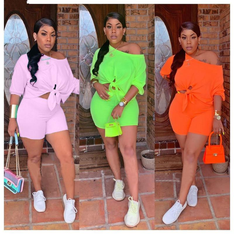 2020 women new summer three quarter length sleeve tie up hem off shoulder top shorts suit two piece set tracksuit outfit Q5102