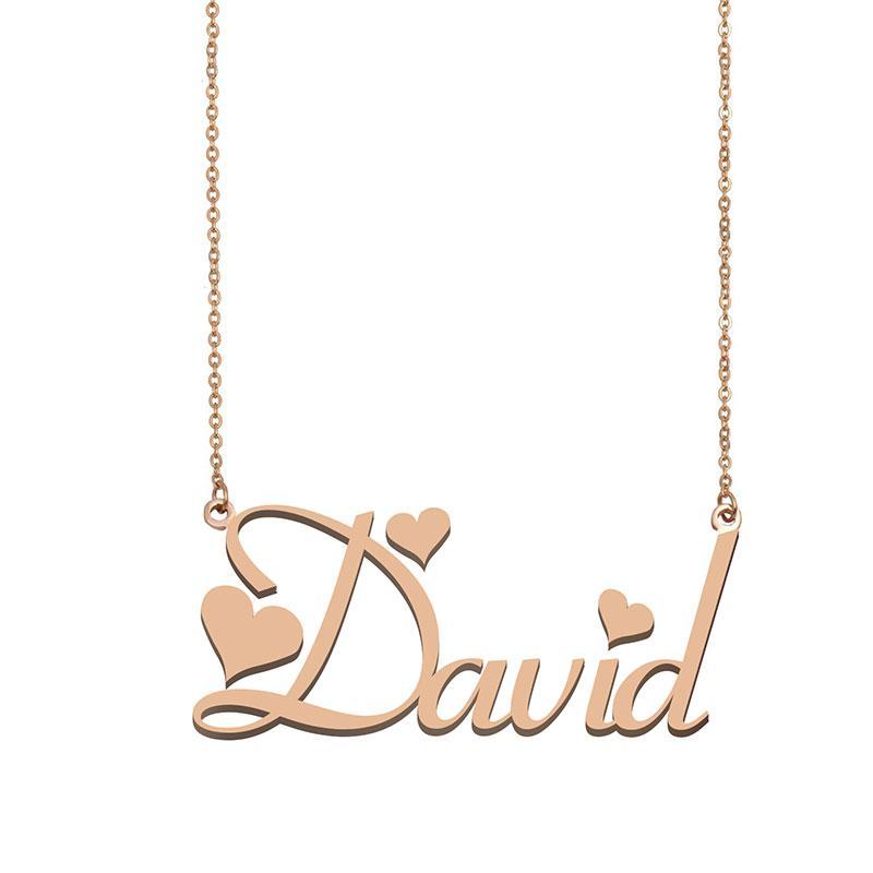 David Namenshalsketten-Anhänger für Frauen-Mädchen-Geburtstags-Geschenk Individuellen Typschild Kinder Best Friends Schmucksachen 18k Gold überzogener Edelstahl
