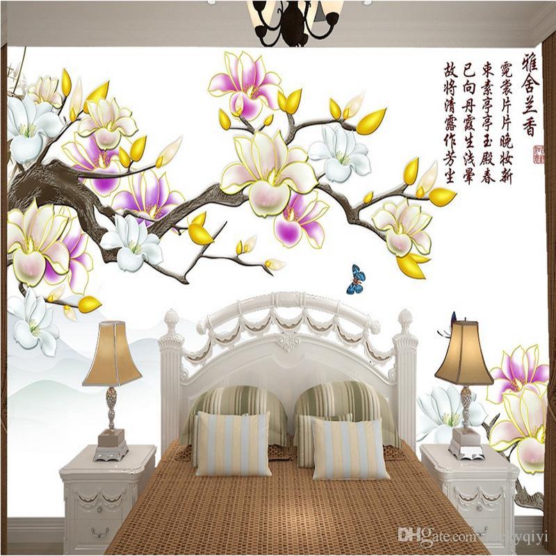 Çin tarzı ev oturma odası TV arka plan duvar kağıdı yatak odası Bütün duvar dokunmamış duvar kağıdı çiçek duvar kağıdı çizim renkli