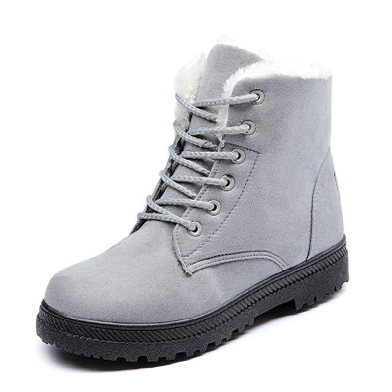 Women Snow Boots Winter Warm Big Size Boots for Women Lace Up Flat Shoes Woman Thick Fur Cotton Shoes Plus Size 35-44 WSH2461