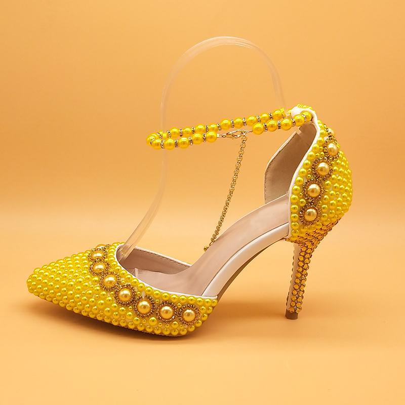 Chaussures de mariage perle or jaune mariée hauts talons bout pointu pompes chaussures femme chaussure Parti cheville robe à lacets Chaussures