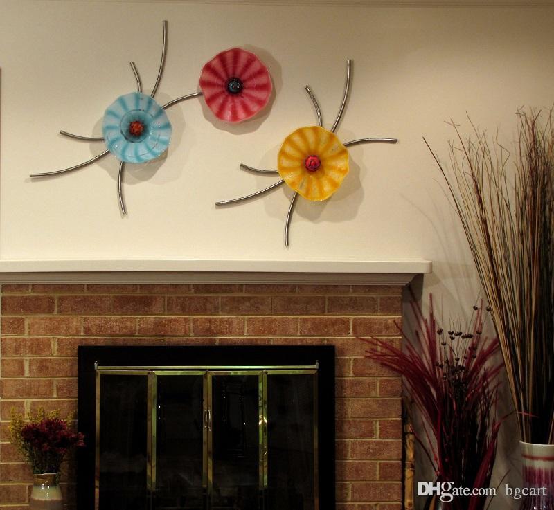 شكل زهرة مورانو فن الزجاج مصباح الجدار لوحات فندق الديكور فن الزجاج الديكور الفم في مهب زجاج مورانو لوحات