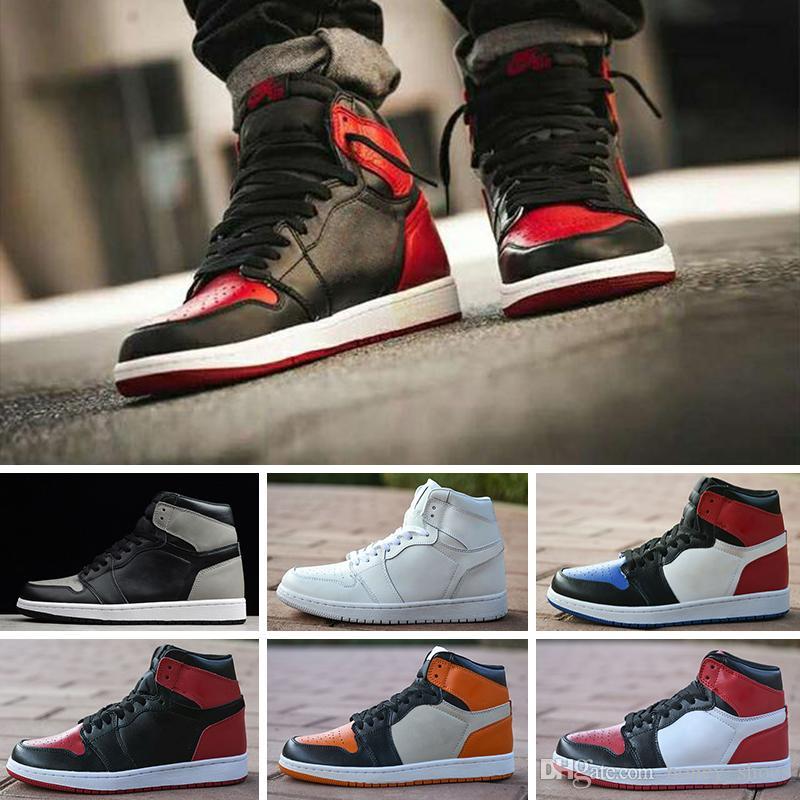 Nike Air Jordan 1 4 6 11 12 13 Alta Qualidade 2018 Novo 1 Alta OG Sapatos de Basquete Jogo Real Proibida Sombra Produzido Vermelho Azul Toe barato Homens 1 s Quebrado Backboard Tênis Retro