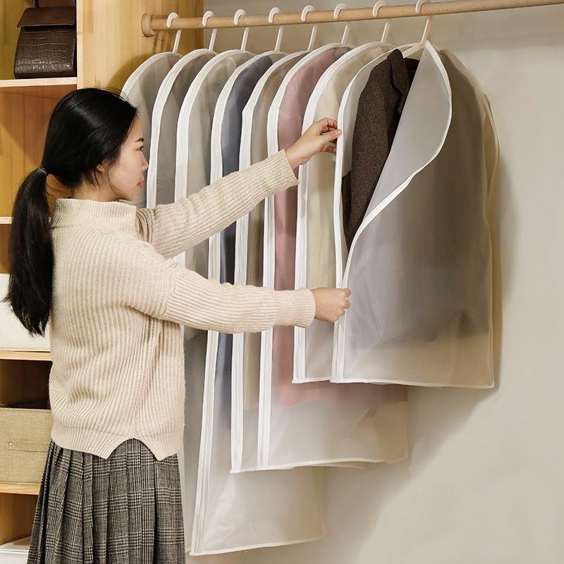 Claro lateral abiertas ropa bolsa de almacenamiento para el hogar prendas de vestir camisa de la chaqueta capa de polvo, humedad Cubierta de protección 1pcs / lot JF006