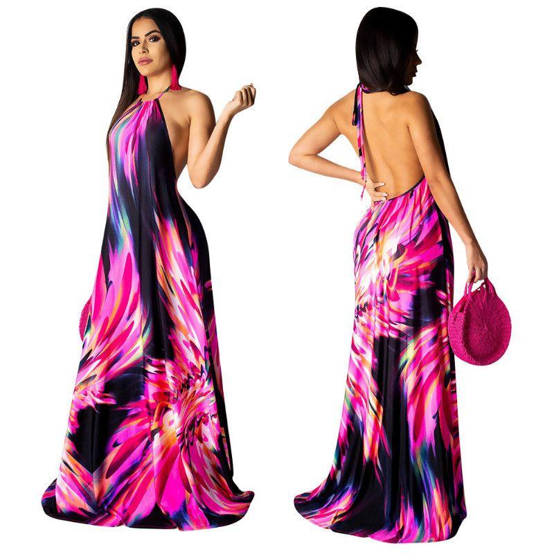 2019 Women Elegant Fashion Plus Size Casual Sleeveless Summer Party Boho Dress Halter Colorful Print Backless Maxi Dress Sexy Evening Dress