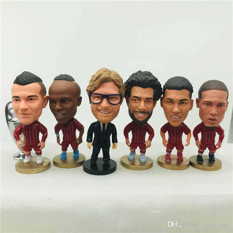 Soccerwe Salah Mane Klopp Firmino Shaqiri Gerrard Torres Van Dijk Doll Soccer Star 6.5 cm Hauteur enfants Toy cadeau d'anniversaire 2020 Champion