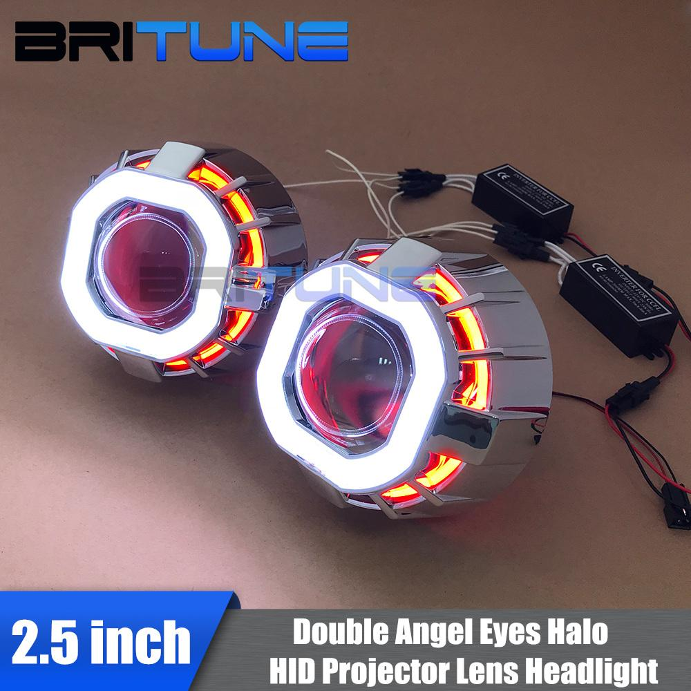 2.5/'/' H1 HID Bi-xenon Projector Lens Dual LED Angel Eyes Headlights Retrofit H7