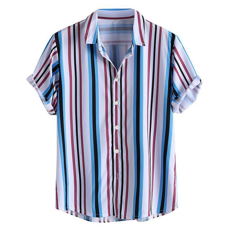 Hommes Shirt Vintage rayé feuillettent col vers le bas à manches courtes Loose Fit Couleur hawaïenne Casual Shirt Streetwear Homme Chemise