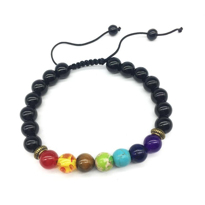 7 Chakra-Armband-Mann Black Lava Healing Gleichgewicht Perlen Verschiedene Farben Armbänder für Frauen Reiki Buddha Gebet Naturstein Yoga-Armband