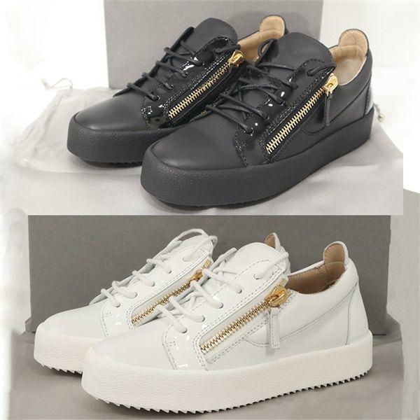 Designer Homens Frankie Sneaker Mulheres White couro de bezerro Trainers Fashion Low-top preto envernizado com ouro Zips calçados casuais 3 Cores