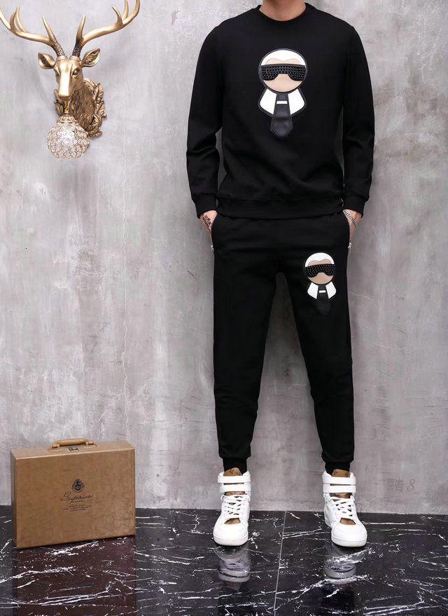 2 mU Tracksuits Männer Sport TopsPants Logo Fashion Herbst Herrenkleidung Sweatshirts Herrenmode Anzüge 0902