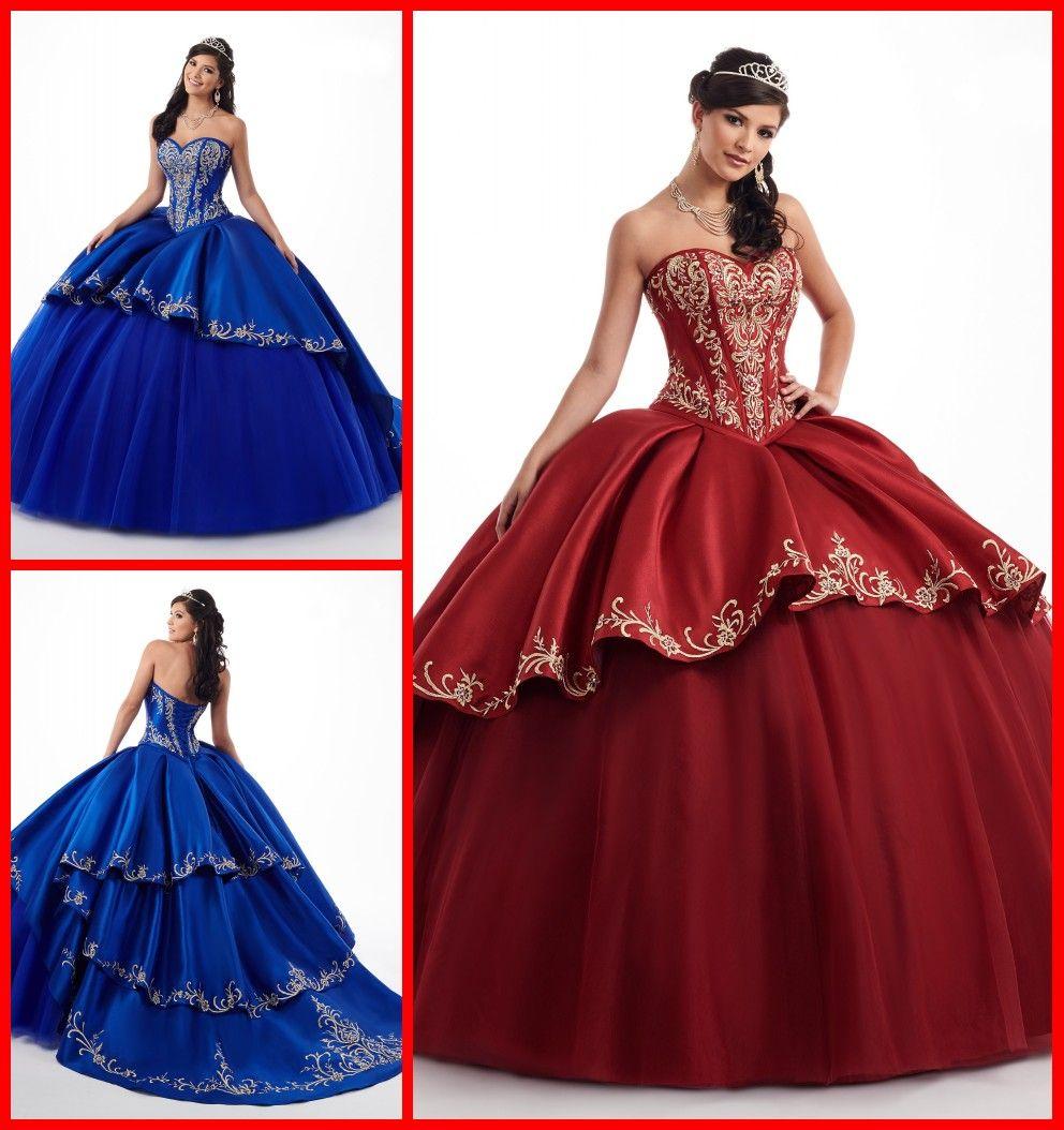 Erstaunlich Royal Blue Burgund 2020 Quinceanera Prom Kleider mit Gold Embroideried Schatz-Satin-Ballkleid-Abend-Partei des Bonbon-16 Kleid