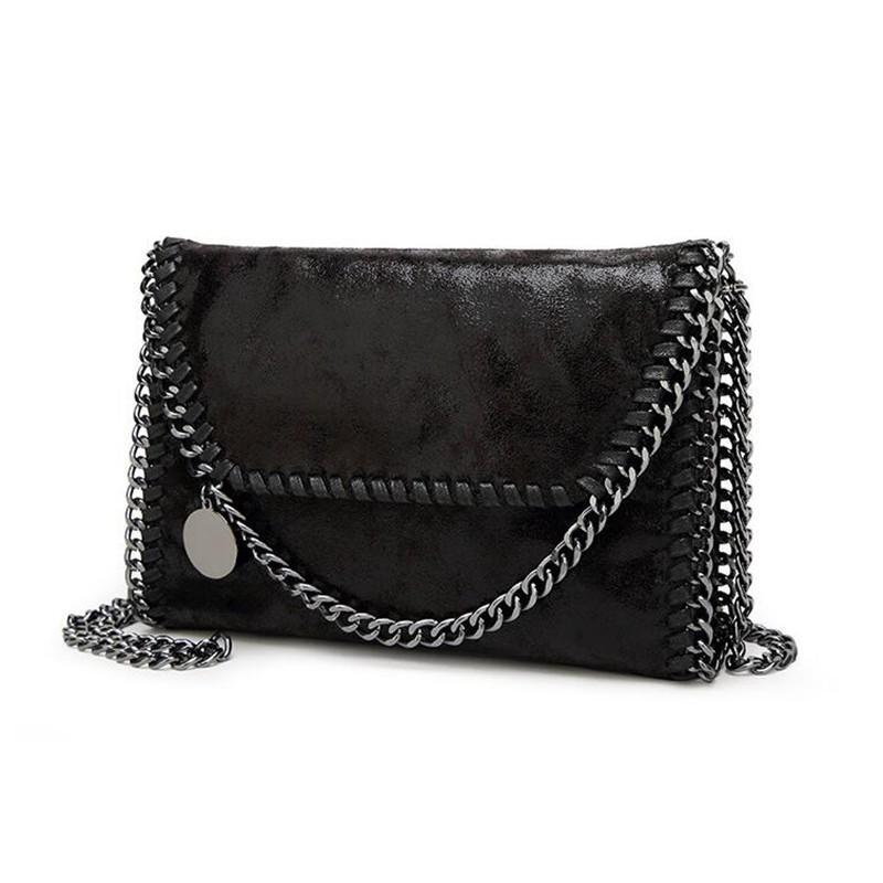 Tasarımcı-Yeni Kadın Mesaj Çanta Pu Moda Taşınabilir 2 Zincirler Çanta Dokuma Omuz bolsa Feminina Carteras mujer çanta