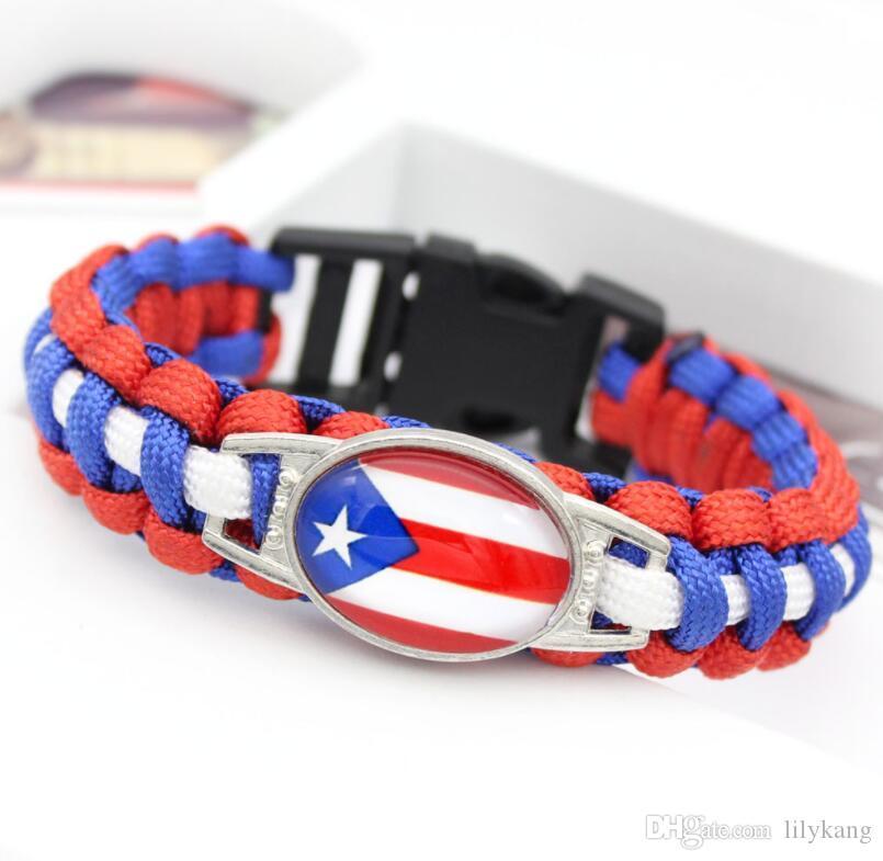 New Usa Uk canada world national flags parachute rope bracelet outdoor life saving bracelets creative charm wristband jewelry christmas gift