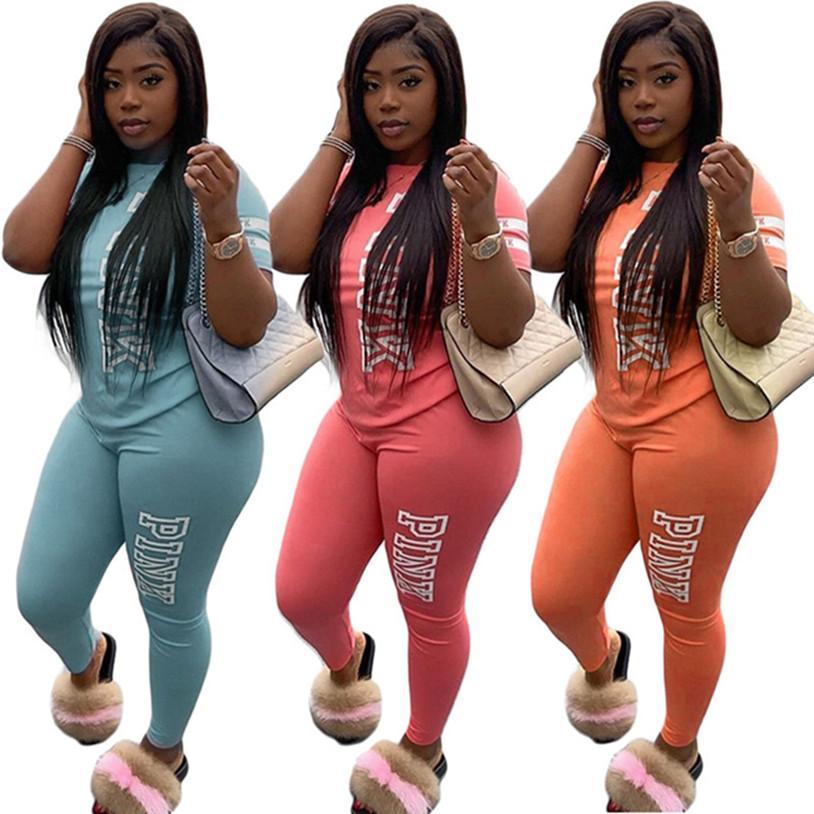 PINK Kadınlar tasarımcı marka seti, S-2XL tişört pantolon 2 adet kazak yaka yaz gündelik giysiler kıyafetler kısa kollu eşofman 2979 DHL