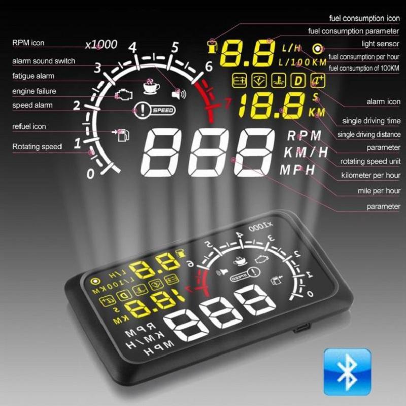 9V 16V DC Car Auto Hud Head Up Display para OBDII E EUOBD 5,5 polegadas do pára-brisa Projector Alarm System Excesso de velocidade Alarm