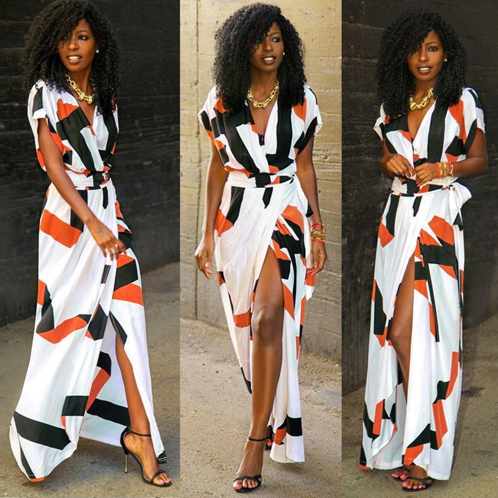 Womens summer Women Dress women/'s beach Dresses Maxi Evening V Neck Short Sleeve