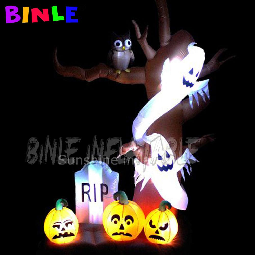 5mH Brianliant LED iluminado árbol gigante inflable decoración de Halloween con la calabaza y el fantasma