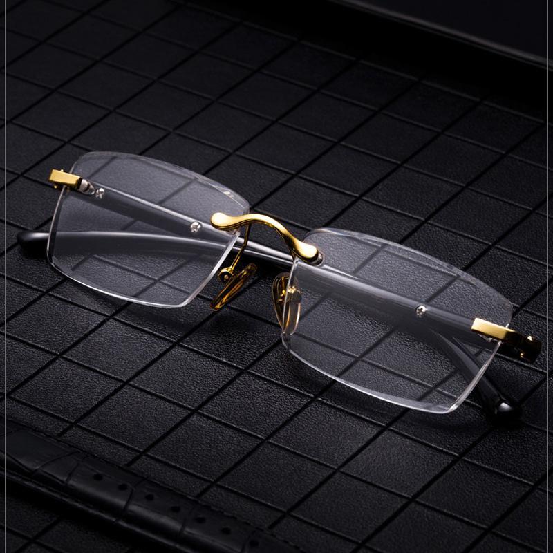 Lente Piedra Natural de cristal sin marco de lectura de los vidrios de lujo de los hombres de los vidrios de dioptrías Hipermetropía presbicia clara Eyewear 1,5 2,5 3,5