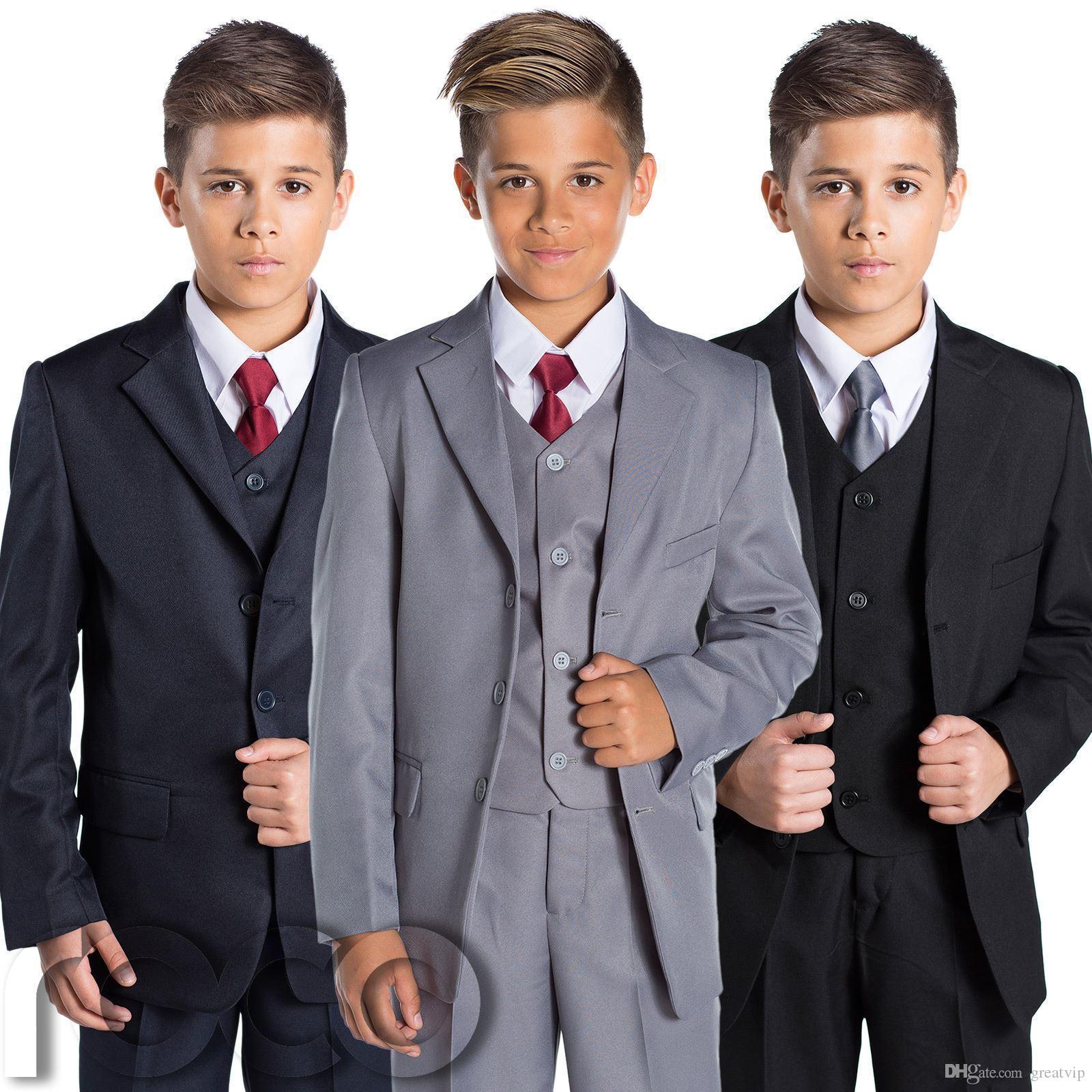 Meninos trajes formais Três peças casamento smoking tuxedos terno terno crianças jovens crianças formal roupas roupas terno (jaquetas + coletes + calças)