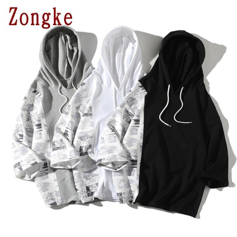 Zongke 2020 Новых Лоскутной пуловер Толстовка Мужчины хип-хоп моды Мужчины Толстовка Толстовка с капюшоном Толстовка Уличной Tops M-5XL