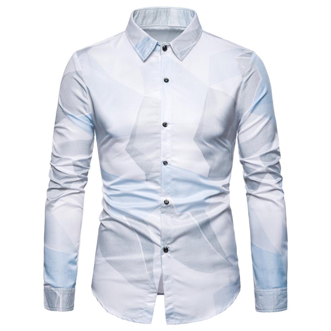 Miicoopie Mens camisas de manga longa para o verão Imprimir camisas casuais camisa havaiana vestido Men