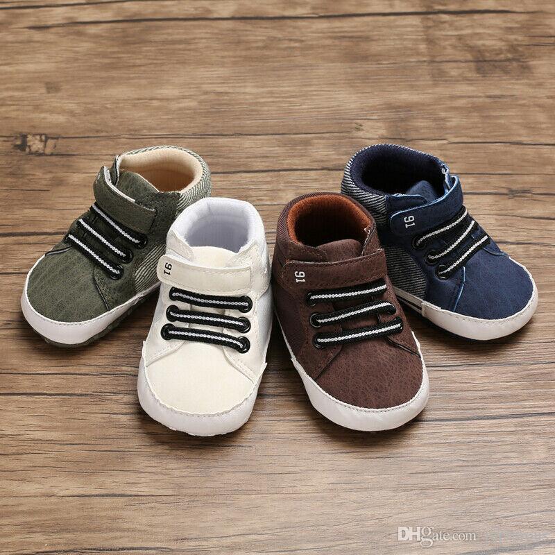 0-18 м новорожденный мягкая подошва детская кроватка обувь мальчики дети шнуровке ботильоны кроссовки мода детские Повседневная обувь