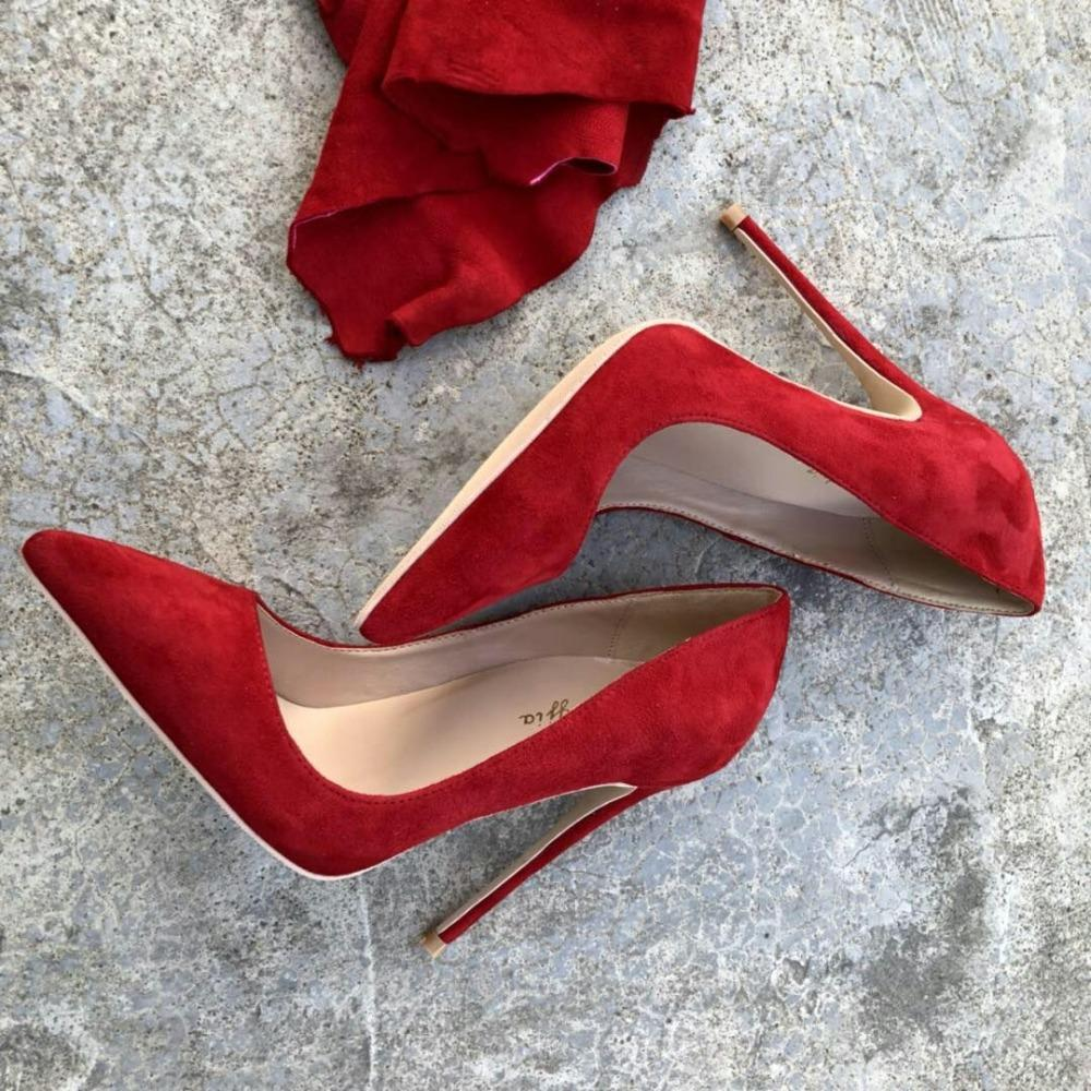 2019 envío gratis moda mujer niñas dama nuevo cuero de gamuza roja Punta puntiaguda zapatos de tacón alto zapatos de tacón de aguja zapatos de tacón 12cm 10cm