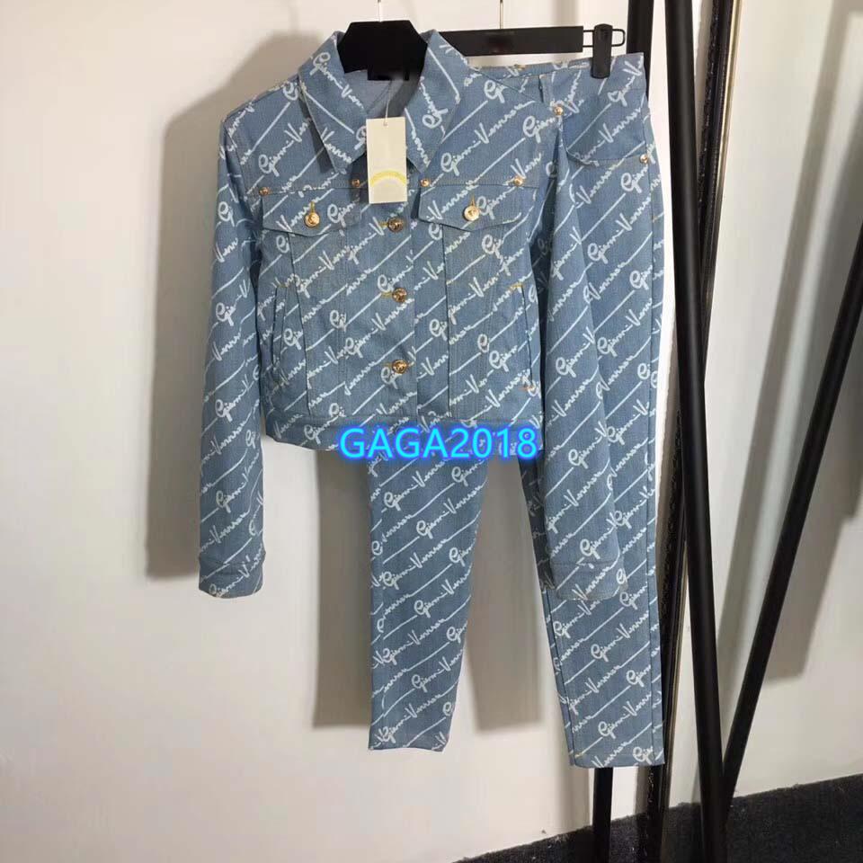 모든 것을 편지 모티브 긴 소매 하이 엔드 여성 소녀 세트 데님 폭격기 재킷은 슬림 연필 바지 청바지 2020 패션 디자인 두 벌의 양복을 꼭대기