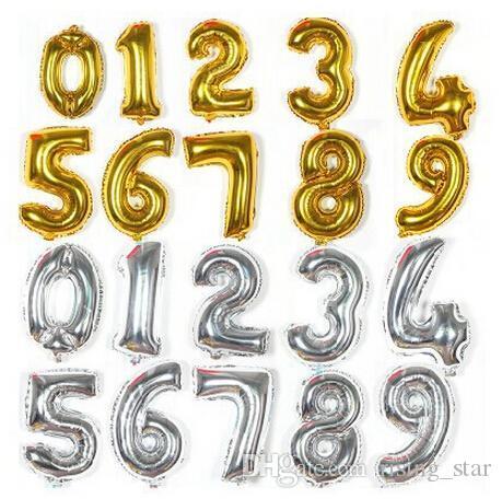 La fiesta de cumpleaños 16 pulgadas de plata / oro digital 0-9 Figura Número globos globo de la hoja para la boda de alimentación decorativo envío libre