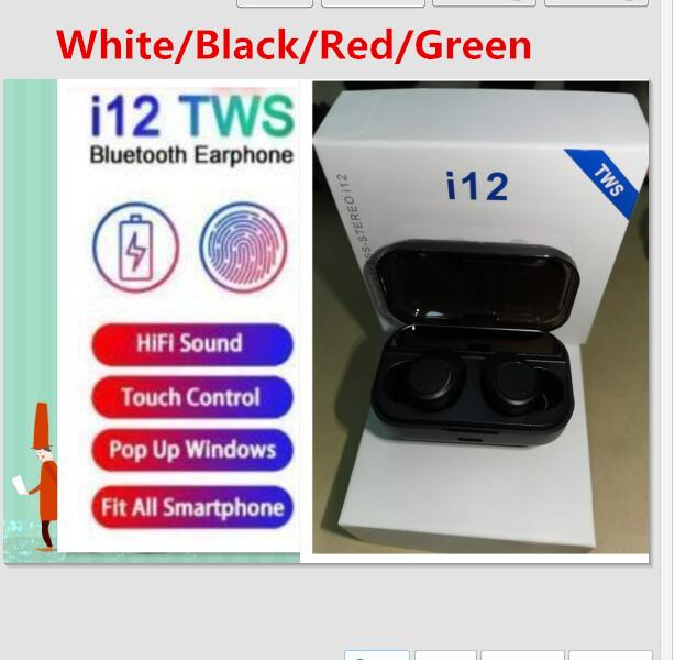 DHL Free 4 colors Wireless Bluetooth Headphones i12 TWS V5.0 Stereo Cell phone Earphones Sports Headphone Touch i7mini i7S