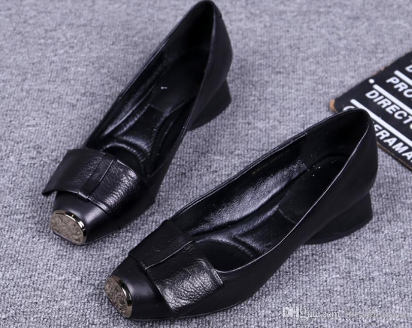 2019 zapatos de las mujeres en primavera y otoño con nuevo estilo tacón bajo grueso tacón cuadrado cabeza del bowknot @ WWW65465