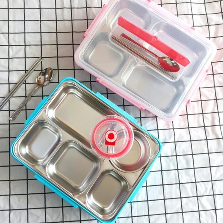 Bento bambini contenitore di alimento della scatola di pranzo Diviso Spuntino Vassoio in acciaio inox Un isolato Compartimenti mensa scolastica Piatto Spuntino LSK62