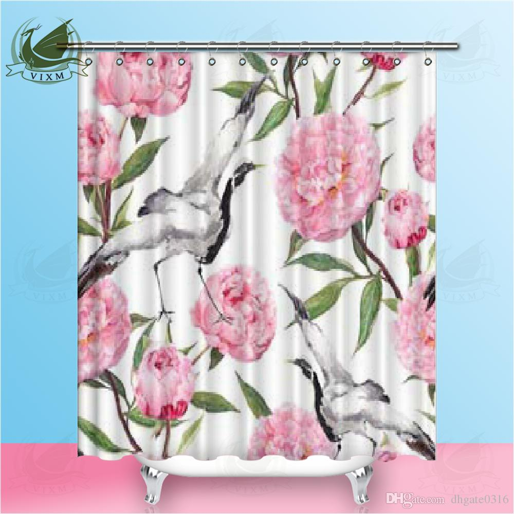 Vintage Country Home Decor Floral Print Roses and Rose Buds Shower Curtain Set