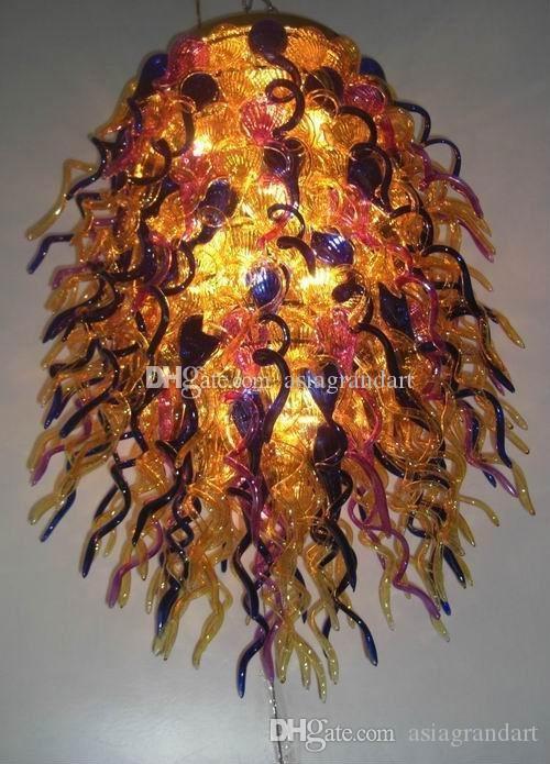 100 % 입 풍선 CE UL 붕규산 무라노 유리 데일 치 훌리 (Dale Chihuly) 예술 무성한 퍼플 옐로우 핑크 유리 샹들리에