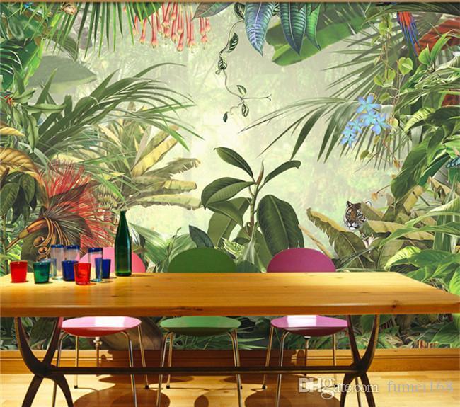 hojas de plátano selva tropical de tamaño personalizado del sudeste asiático estilo del papel pintado restaurante bosque verde sala de estar telón de grandes frescos