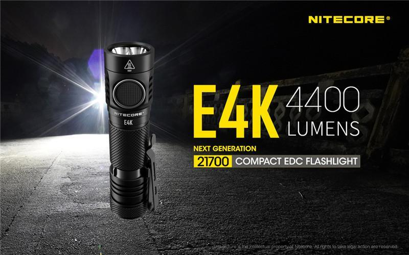 NITECORE E4K 4400 لومينز مضيا الاتفاق LED الشعلة مع بطارية 5000mAh قابلة للشحن التخييم في الهواء الطلق تبحث عن و